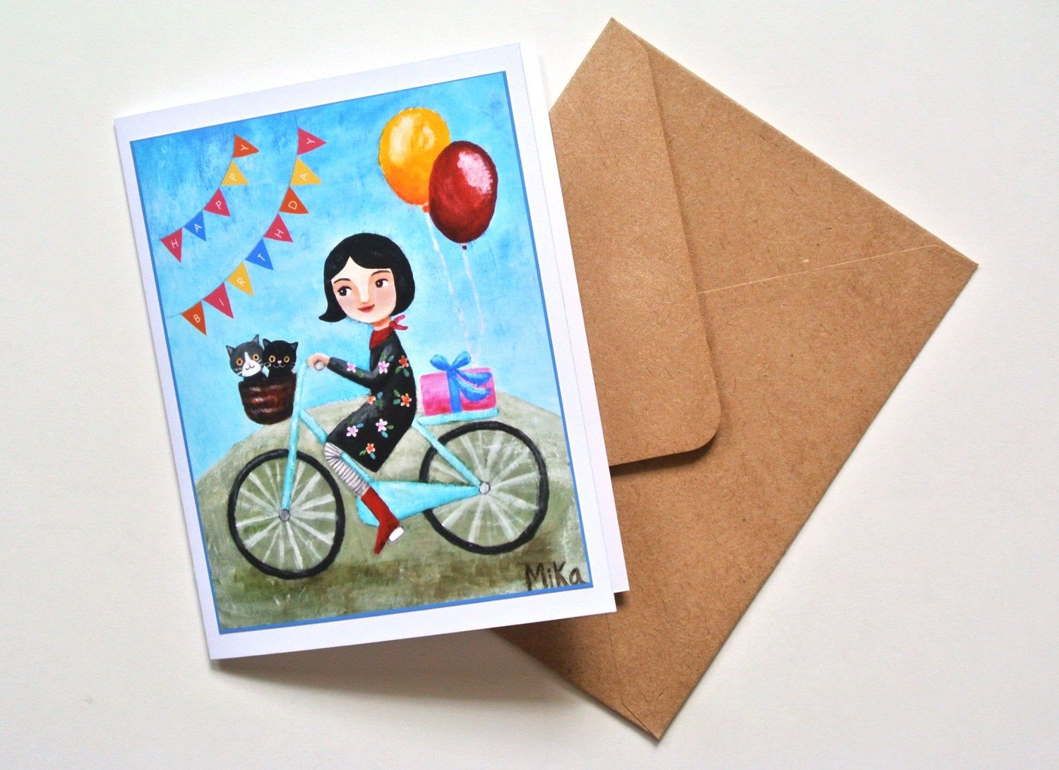 Kitty Cats and Girl on Bicycle Birthday Card Cat Lover