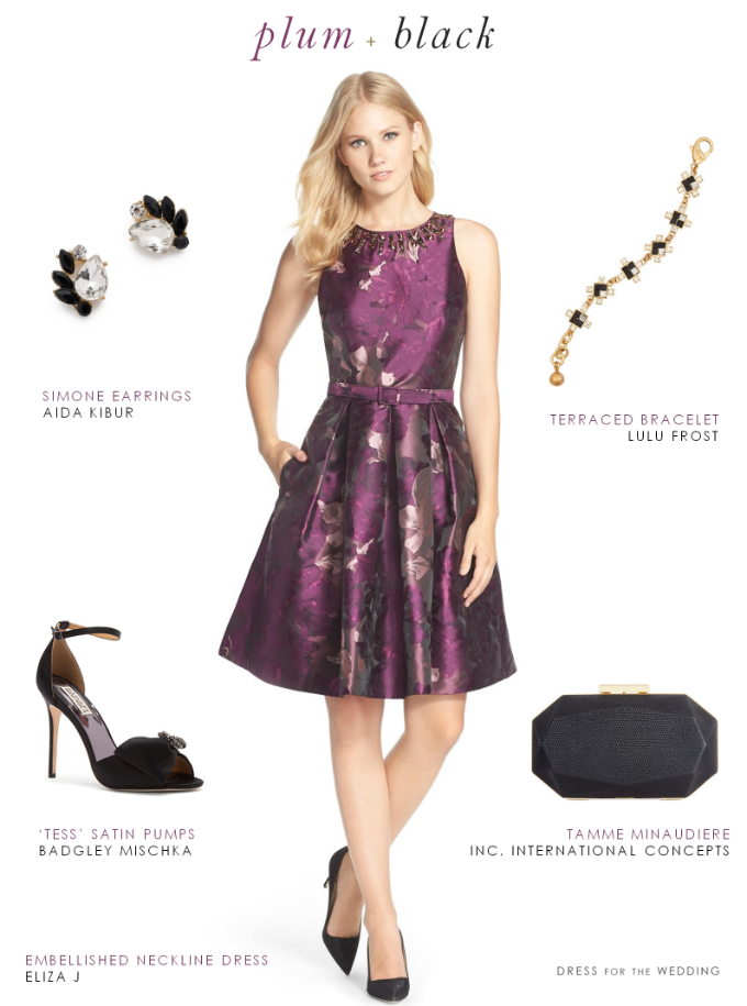 c9acc9c712 Purple and Black Dress. This party dress in plum and black is a pick for a  fall wedding guest outfit