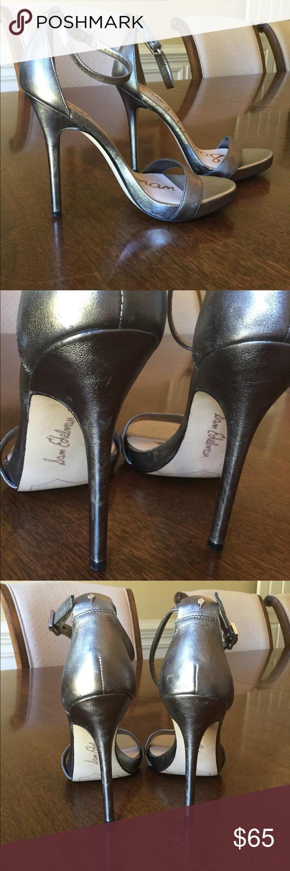 e7eb30682 SAM EDELMAN Ariella Heeled Sandal NEW Sz.6 Sam Edelman silver pewter open  toe heeled