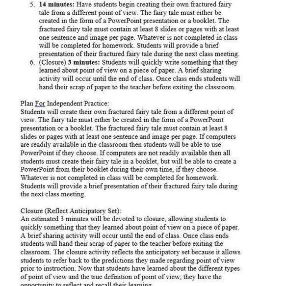 Point of View Lesson Plan (Page 3) | Language Arts/Writing ...