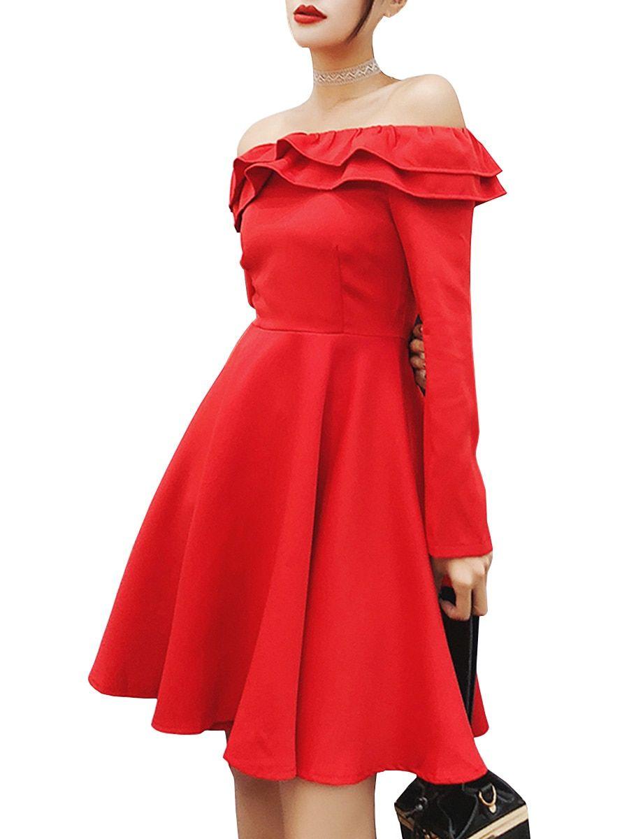 Buy Women s Aline Dress Ruffles Solid Color Slash Neck Dress   Regular  Dresses - at Jolly Chic c8f55ddd4