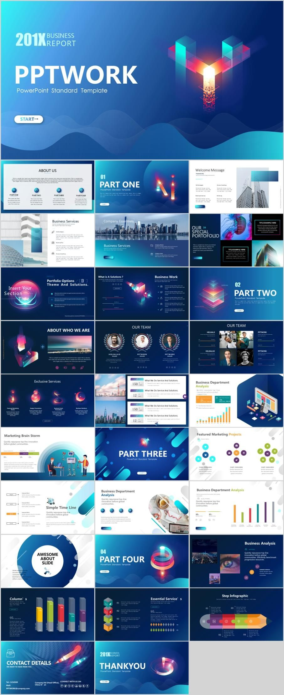 30 Best Business Multicolor Powerpoint Templates Business Themes