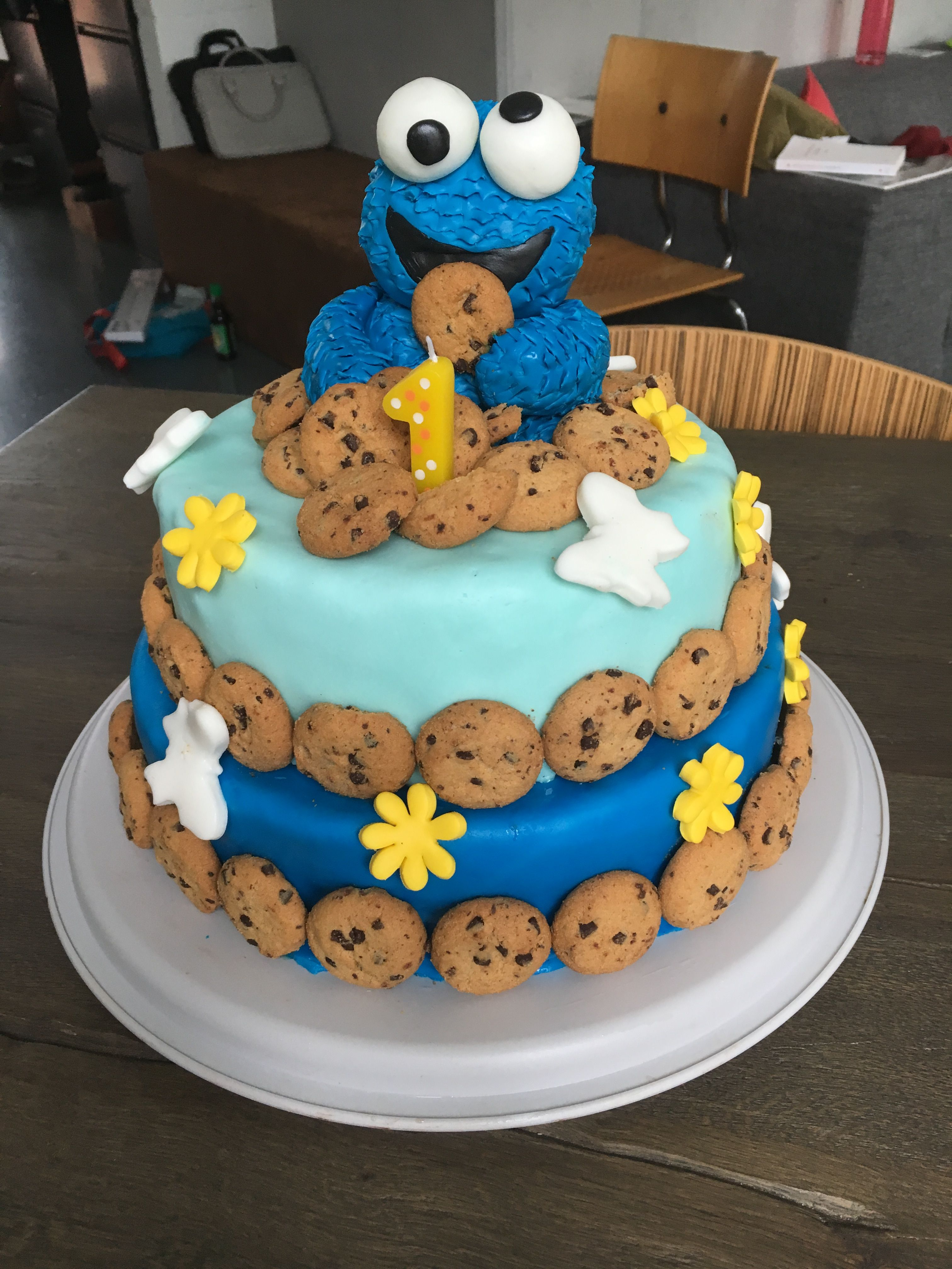 Cookie Monster Birthday Cake For My 1 Year Old Baby Boy Birthday