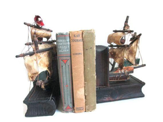Vintage Book Ends Wood Ship Holders Bookshelf By ElmPlace
