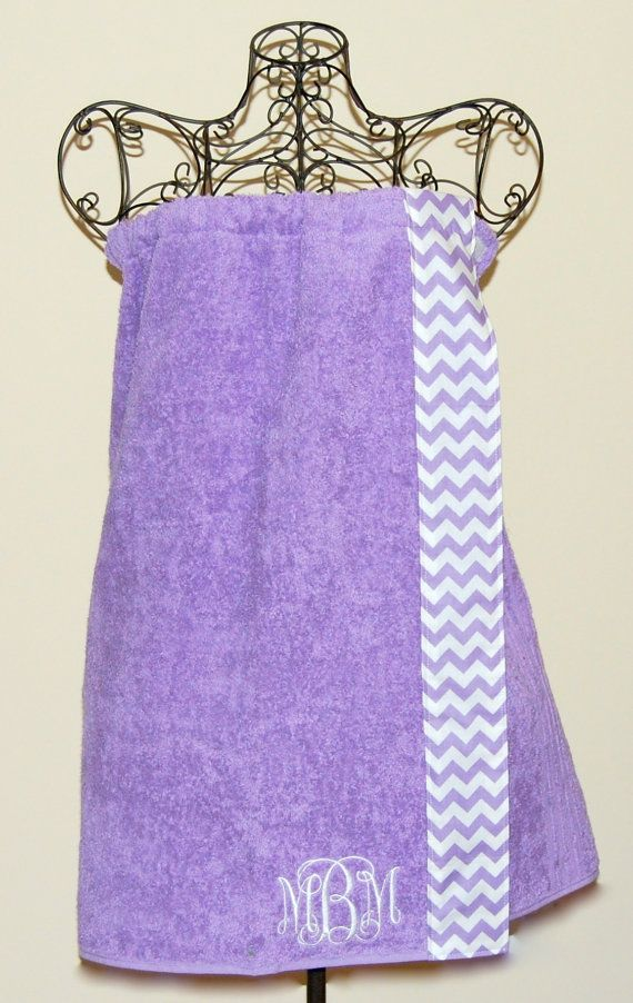 Monogrammed Towel wrap with a Lavender Chevron Trim by