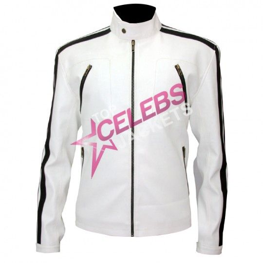 Aaron Paul's Need For Speed white leather jacket | Top Celebs Jackets