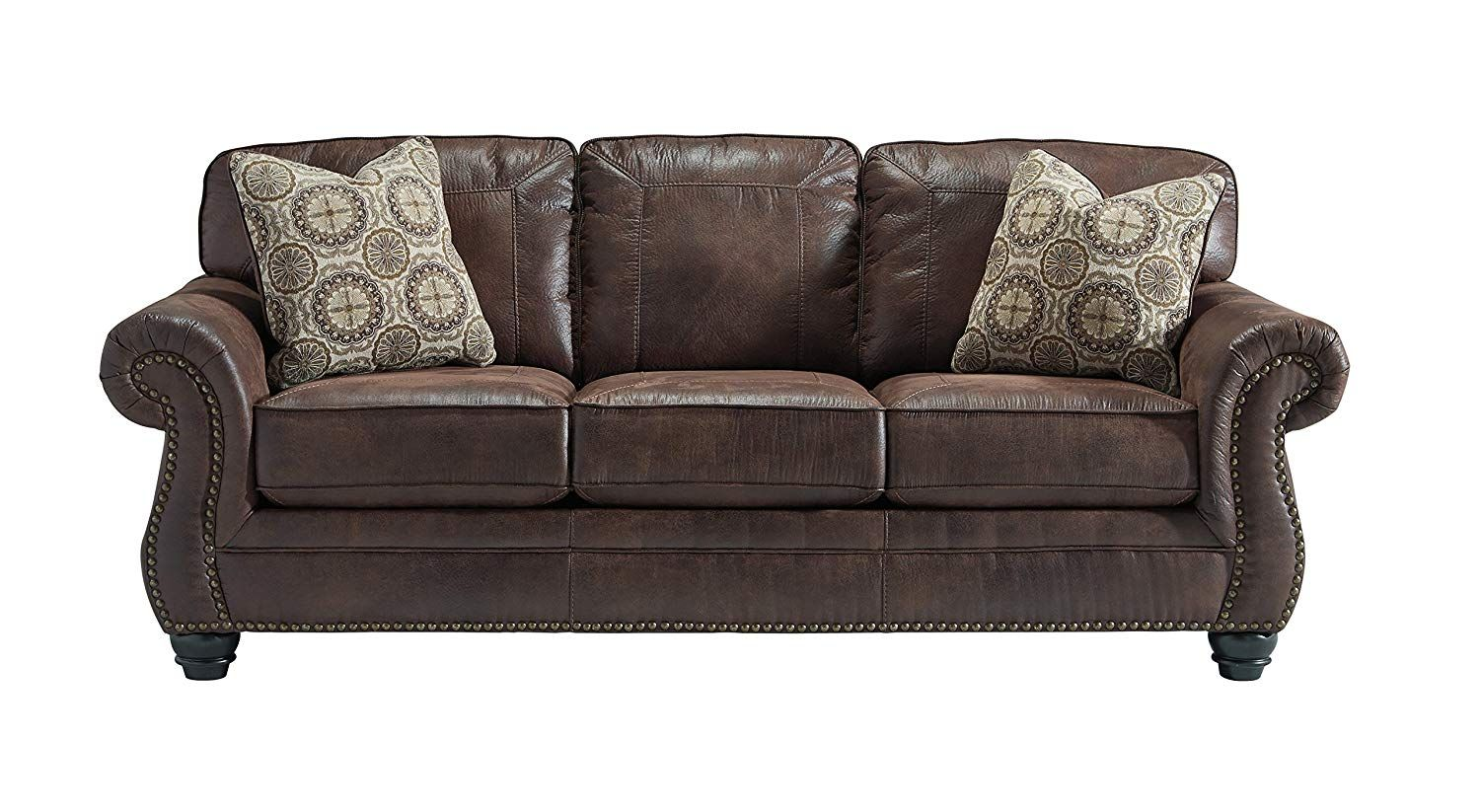 Best Benchcraft Breville Traditional Faux Leather Sofa 640 x 480
