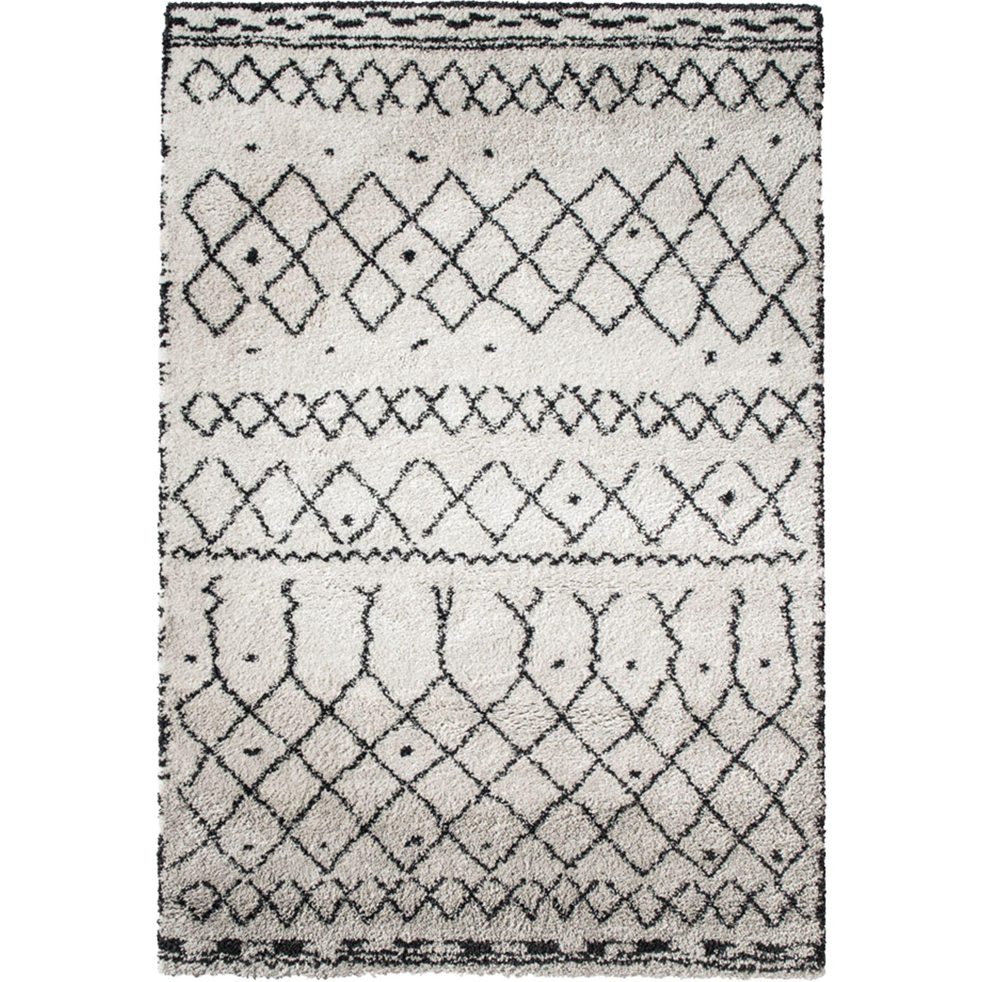alinea : tibet tapis berbère écru motifs noirs - 160x230cm ...