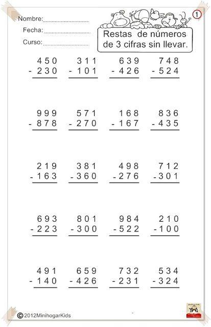 Ejercicios de sumas y restas, llevando y sin llevar | math ...