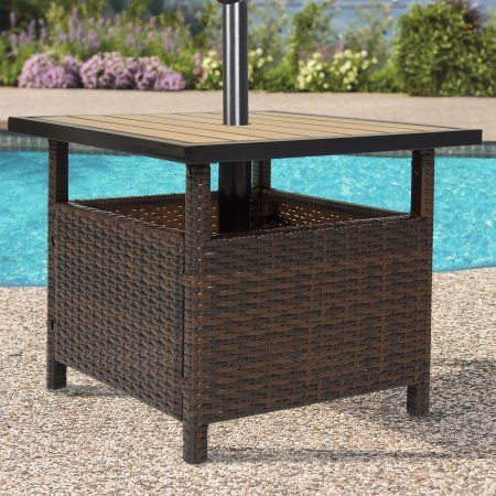 Best Choice Products Wicker Rattan Patio Umbrella Stand Table Outdoor Furniture for Garden, Pool, Deck - Brown - Walmart.com