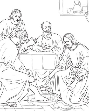Jesus Washing The Disciples Feet Jesus Coloring Pages Bible