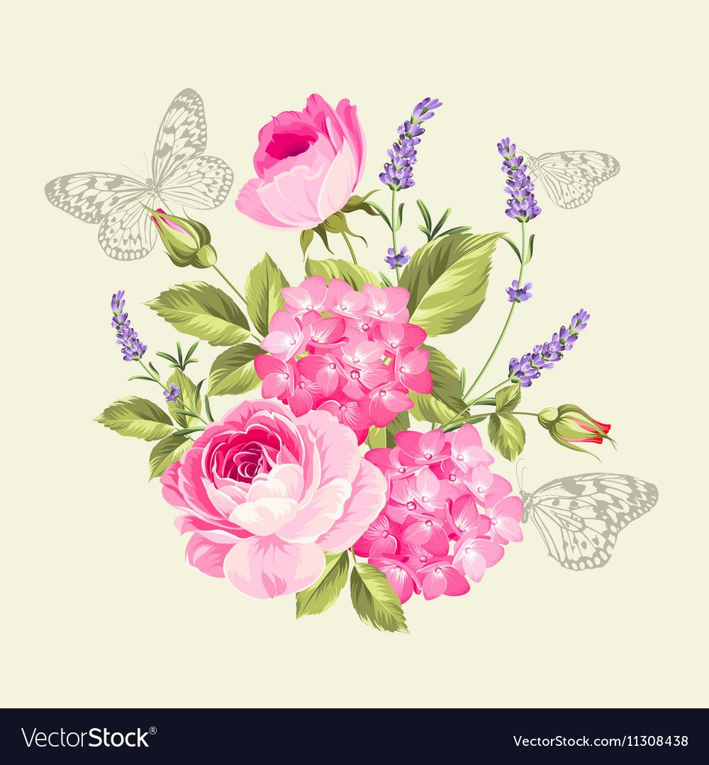 Composition with spring flowers. Bouquet in vintage style