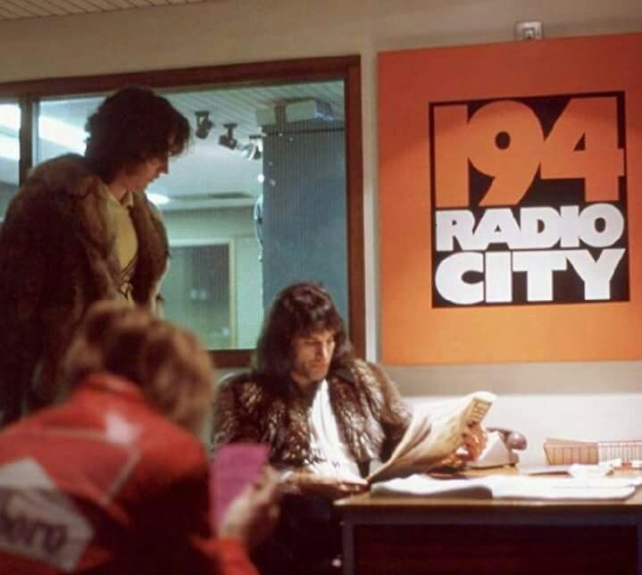 Roy Baker Roger Taylor And Freddie Mercury At Radio City In Liverpool 1975 Photographed By Brian May One Of Freddie Mercury Queen Freddie Mercury Radio City