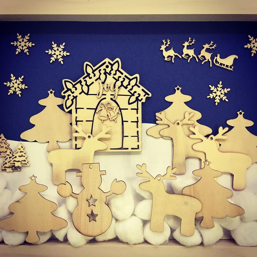 Invitation To Create A Winter Scene In A Wooden Canvas