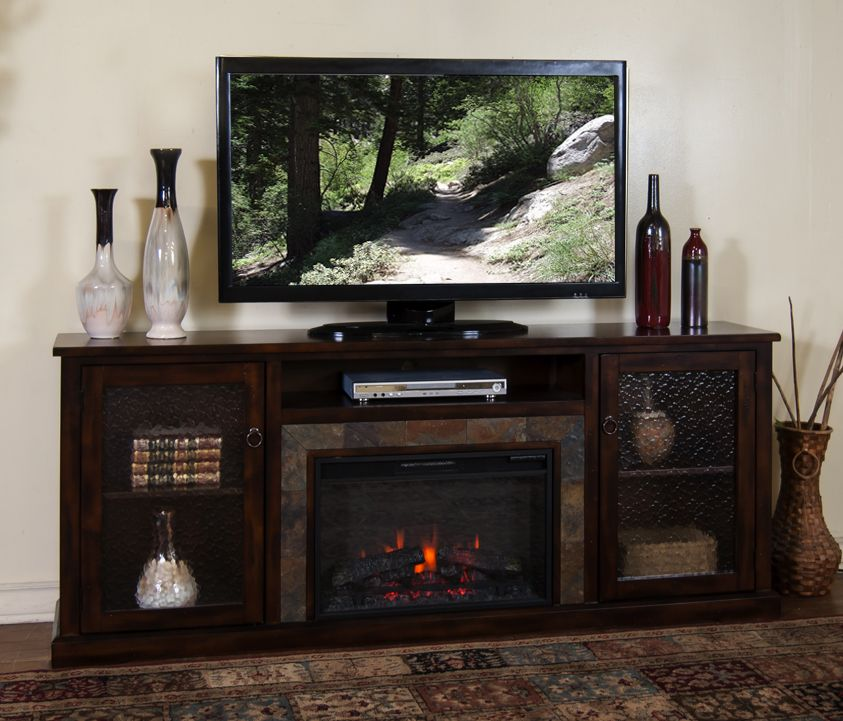 Sd 3488dc 80r 80 Quot Santa Fe Rustic Birch Fireplace Tv Stand