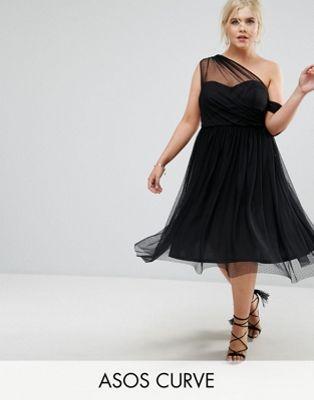 Dobby Mesh One Shoulder Prom Dress - Black Asos Curve zLRhqYudq