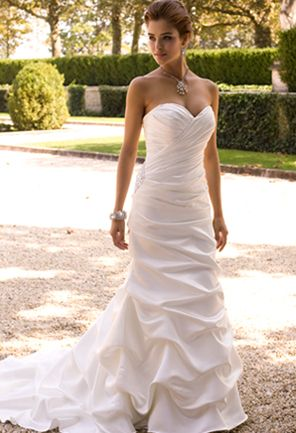 I like the silhouette of the dress. Group USA SATIN TRUMPET WEDDING DRESS WITH…