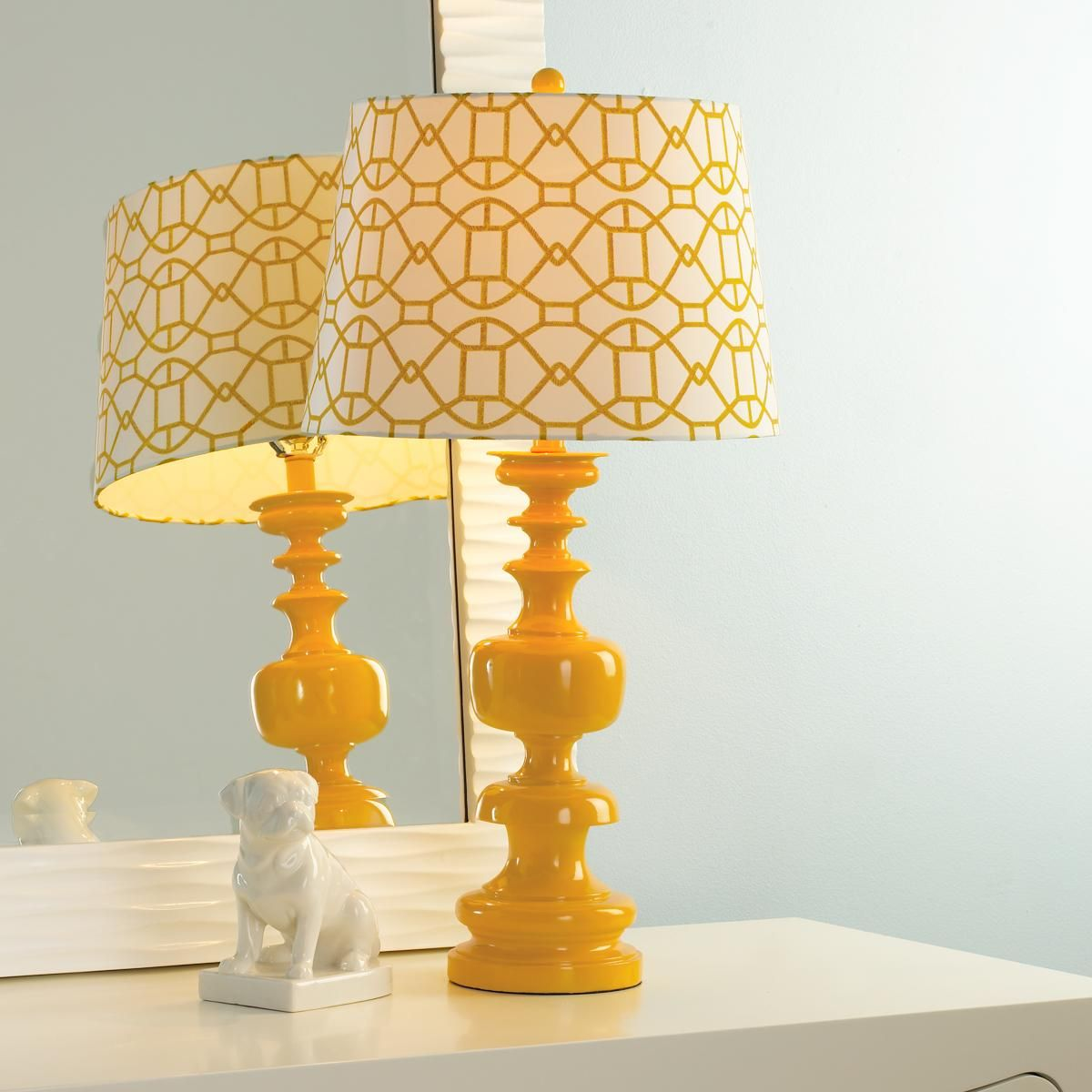Spindle Table Lamp With Lattice Shade Table Lamp Yellow Table Lamp Table Lamp Shades
