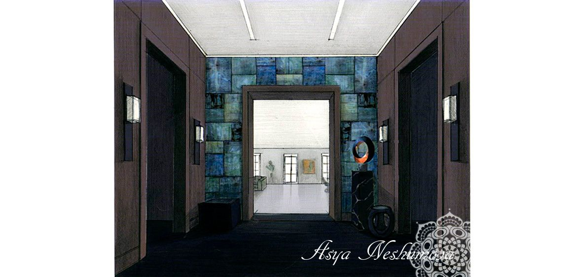 asyaneshumova.com » Project #8 interior sketch#rendering#colored pencils#drawing by hand#visualization#hall