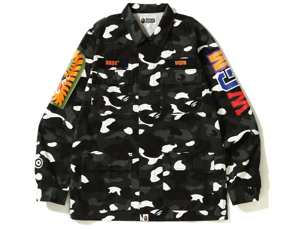 06d4a528 Check out the Bape City Camo Shark Army Shirt Black available on StockX