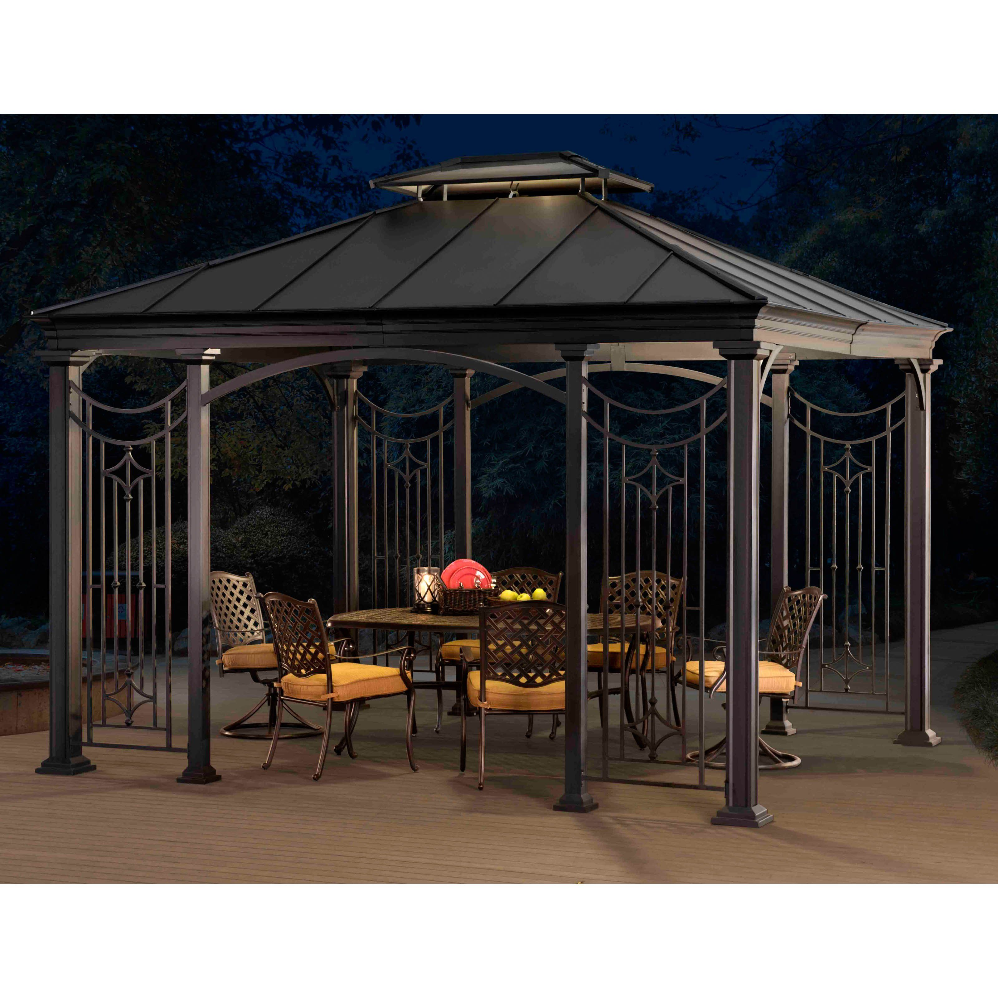 Sunjoy 10 X 12 Ft Branson 8 Leg Gazebo From Hayneedle Com Patio Gazebo Gazebo Aluminum Patio