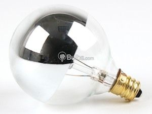 Bulbrite 25w 120v G16 Half Mirror Globe Bulb E12 Base Silver Light Bulb Globe Bulb Chrome Lamp