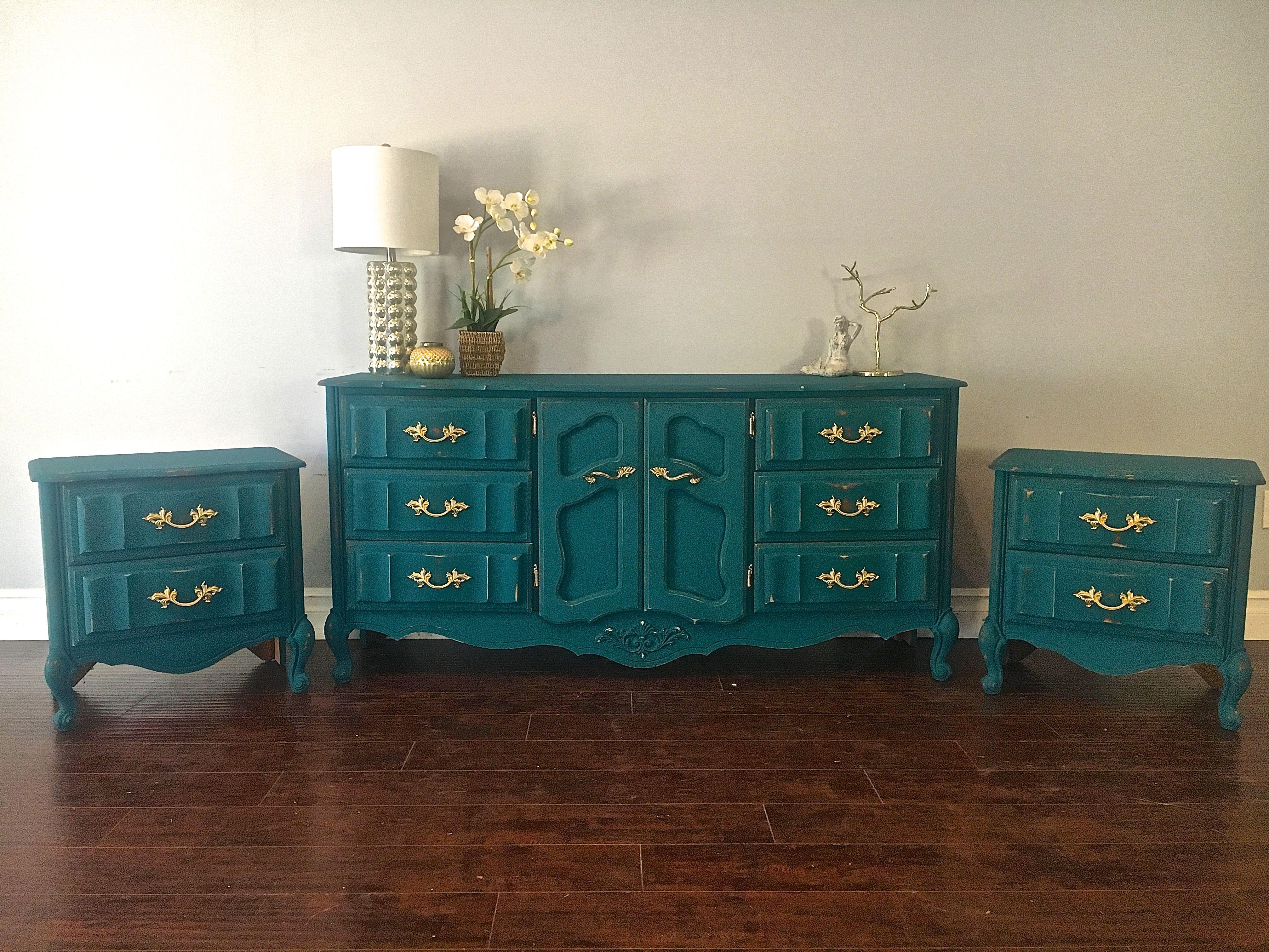 Peacock Blue Gold Dresser Set 575 Sold Selling Furniture