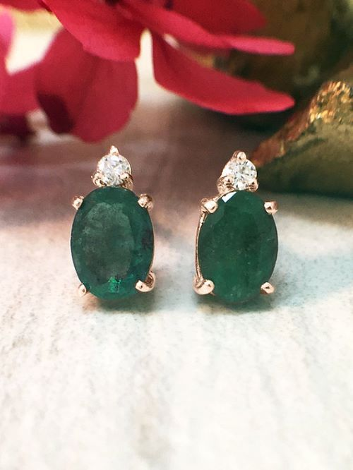 Emerald Earrings Studs For Her