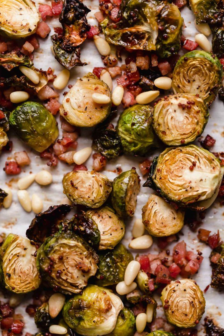 Maple Mustard Roasted Brussels Sprouts With Pancetta Pine Nuts