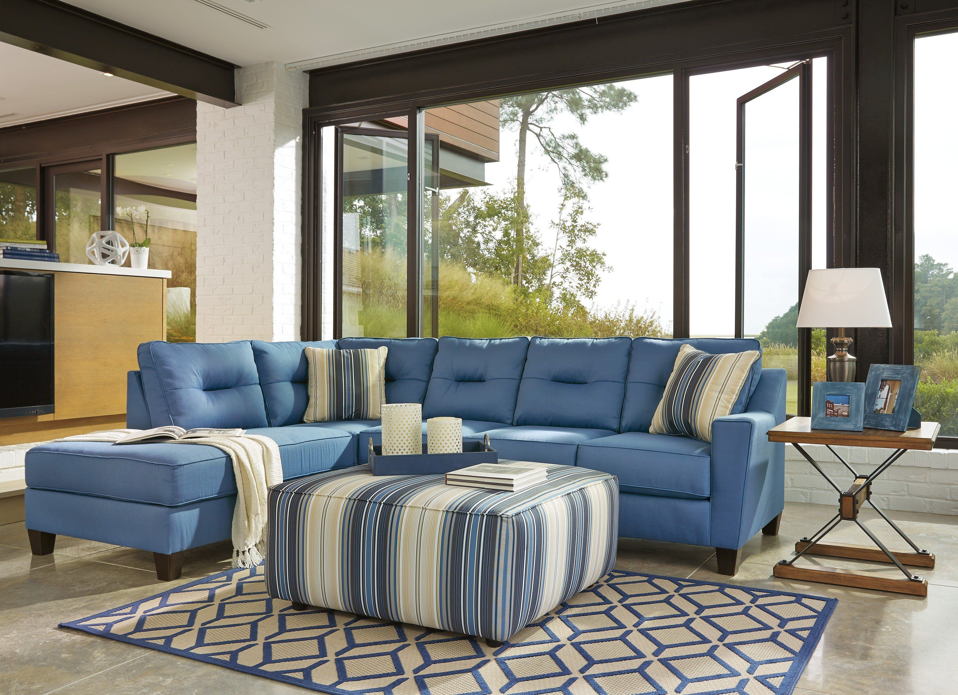 Signature Design Ashley Kirwin Nuvella Blue Finish 3 Piece Sectional ...