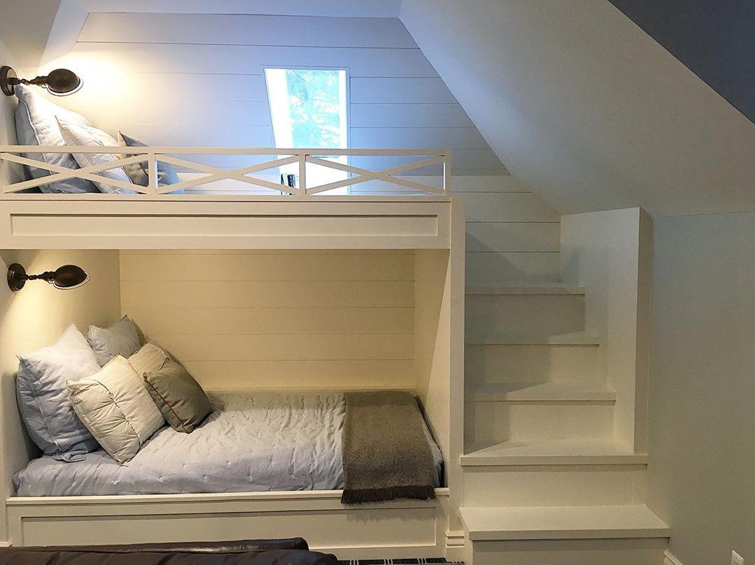 Bunk Room Bunk Beds Built In X Railing Reading Light Bedside Wall Sconces Shiplap Paneling M Custom Bunk Beds Bunk Beds Built In Sloped Ceiling Bedroom