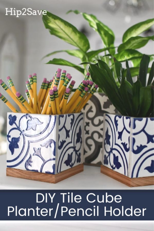 Great Teacher Gift! Try Our Simple DIY Planter Box or Pencil Holder Using Leftover Tiles