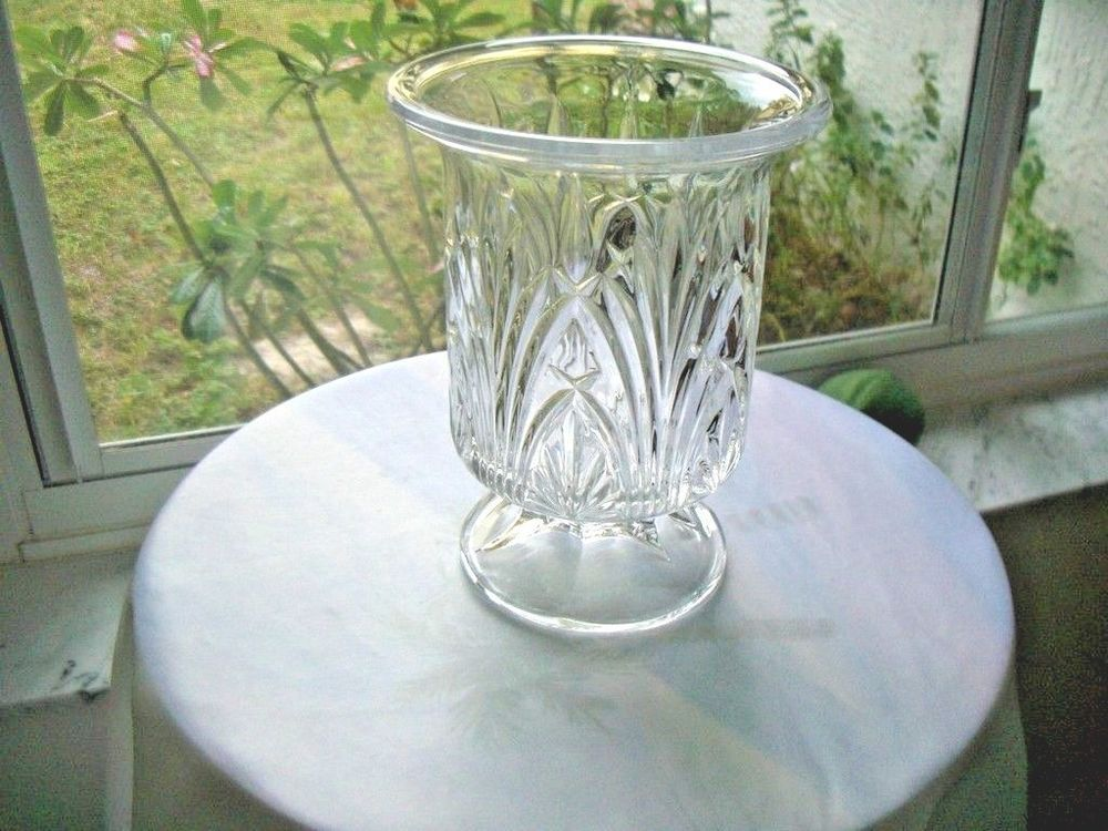 Large Lead Crystal Centerpiece Candle Holder Vase Crystal