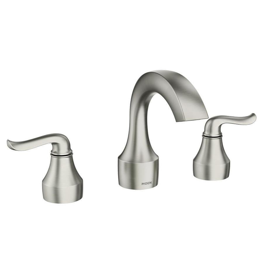 Moen Hamden Spot Resist Brushed Nickel 2 Handle Widespread Watersense Bathroom Sink Faucet With Drain Lowes Com Bathroom Faucets Bathroom Sink Faucets High Arc Bathroom Faucet [ 900 x 900 Pixel ]