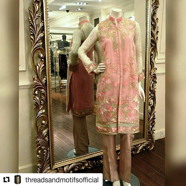 #Repost @threadsandmotifsofficial with @repostapp ・・・ Get your self in Love with our Brand new Fully Front Open & Embroidered Shirt on Organza Fabric Embellished with Pearls. Design # 3486 Stitched Shirt Price is Rs 12500/-. Also you can get unstitched shirt fabric for Rs 5500/-. Available at all our outlets.