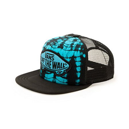 1d07fcd81bea7 The tie dye front panels of this trucker hat are contrasted by solid mesh  back panels