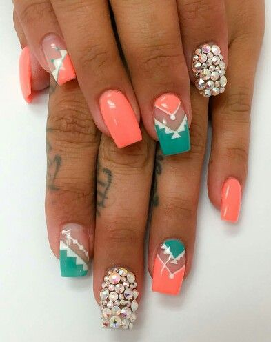Coral And Teal Nail Art Teal Nails Neon Coral Nails Teal Nail