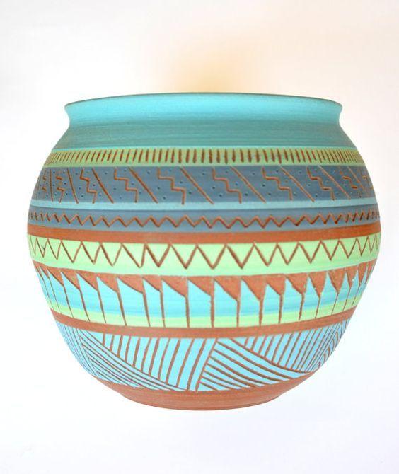 Native American Pottery Clay Vase Cactus Flower Vintage Art Home Decor