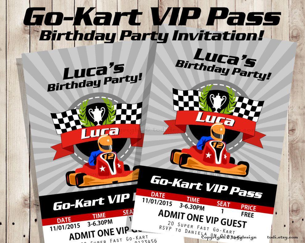Go-Kart VIP Pass #Birthday party #invitation - VIP Pass Invitation ...