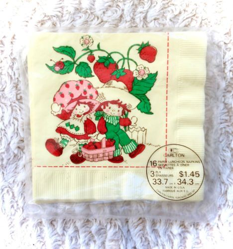 Vintage-1981-Strawberry-Shortcake-Napkins-Serviettes-Tissues-80s-RARE-HTF