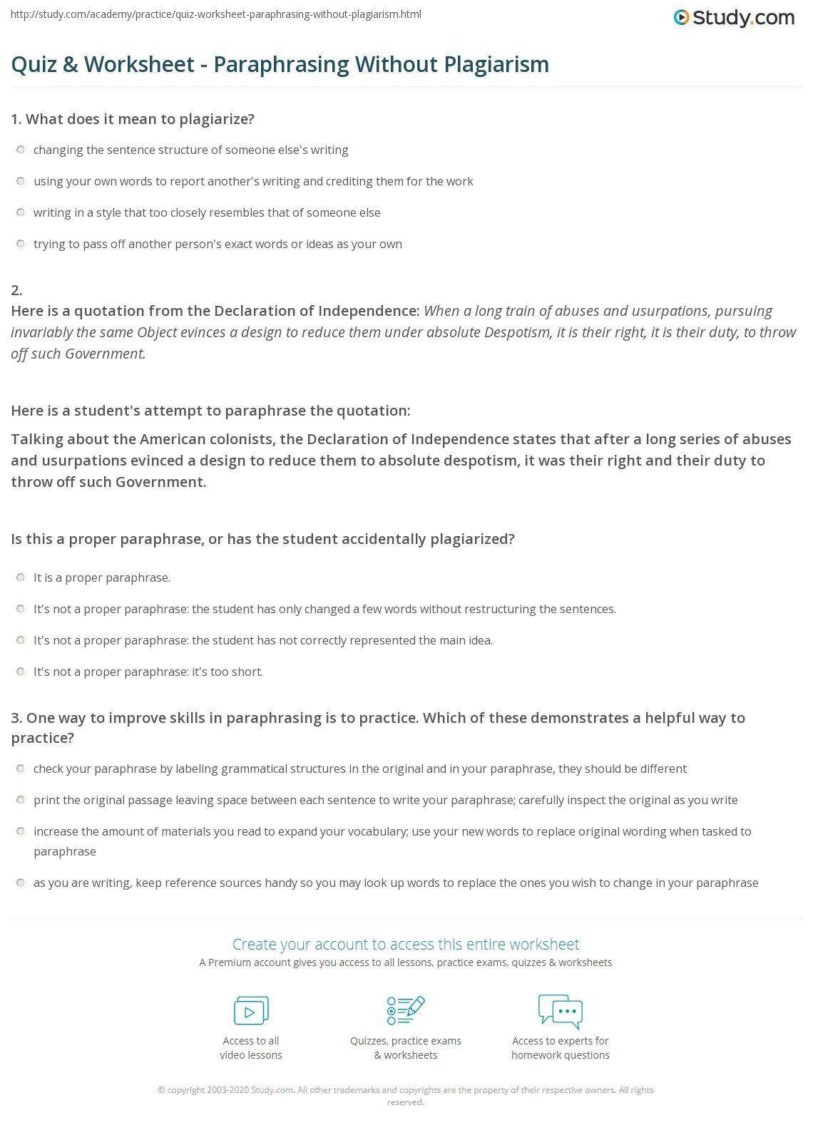 Paraphrasing Worksheet Middle School Quiz Amp Worksheet