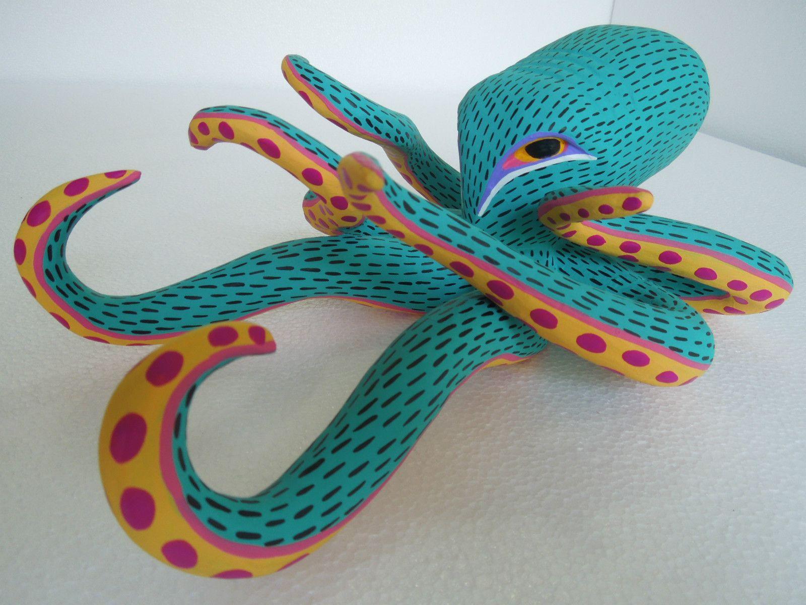 Collection octopus oaxacan wood carving alebrije sculpture