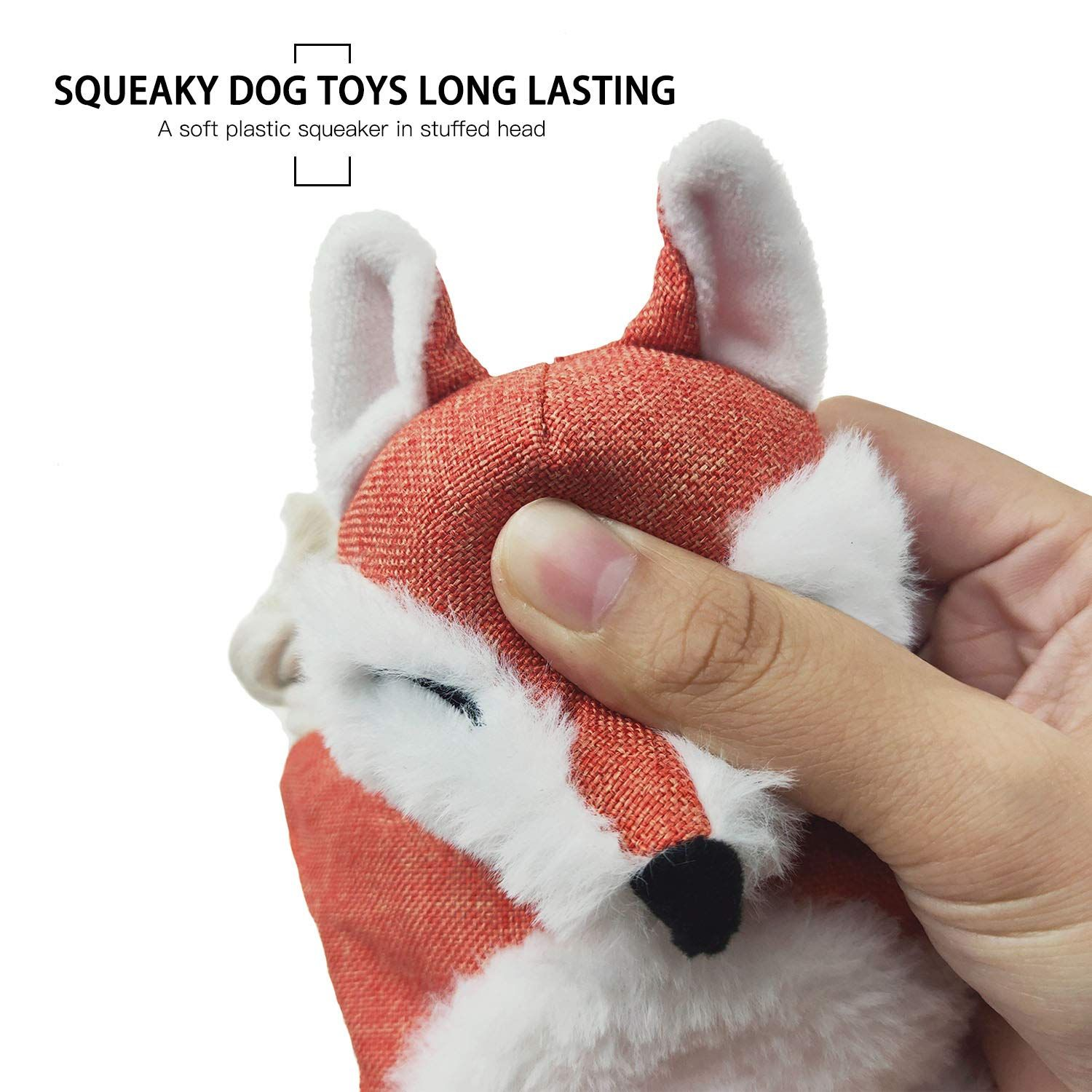 Vitscan Fox Dog Toy With Squeaker Stuffless Dog Toy Crinkle
