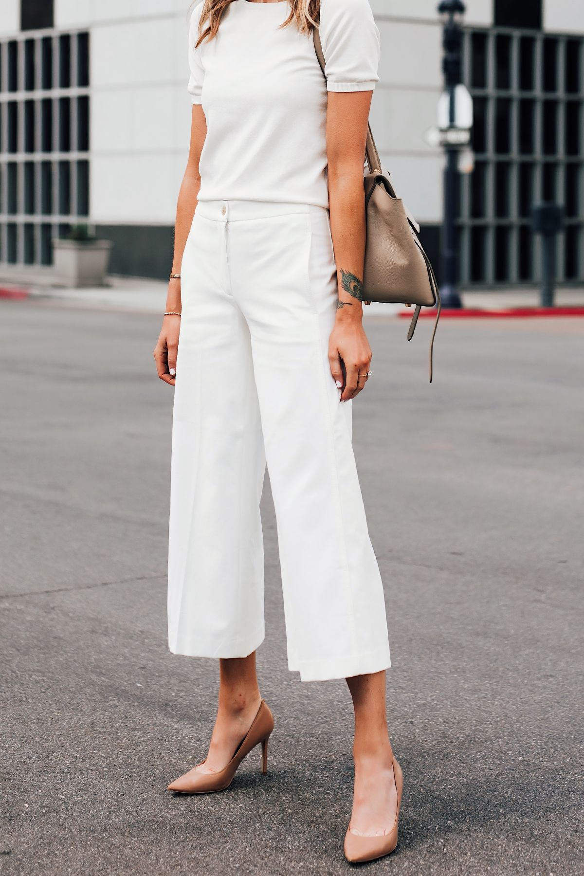 2abf9f40b52 Fashion Jackson Wearing Ann Taylor White Short Sleeve Sweater Ann Taylor White  Wide Leg Cropped Pants Nude Pumps
