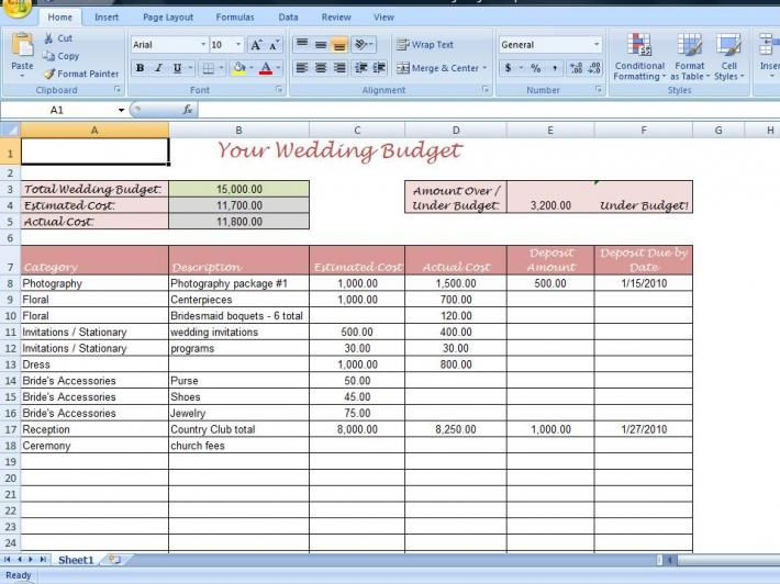 Printable Wedding Budget Template for your Wedding Planning Binder - Pricing Spreadsheet Template
