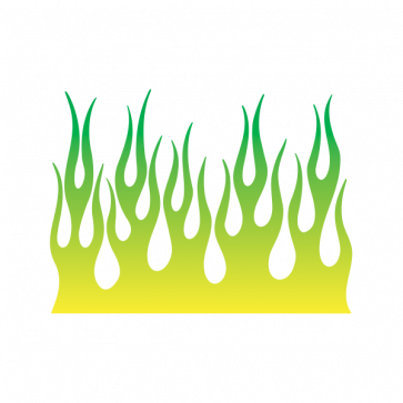 Fire Flame Yellow Green 02360 Preppy Stickers Fire Painting Green Sticker