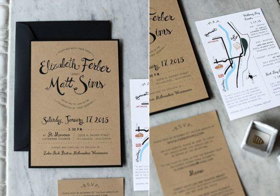 Custom Wedding Invitations Milwaukee Hand Drawn Names