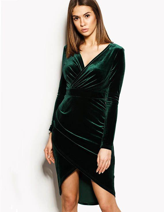 5b60a40683d3 Green Velvet Dress, Emerald Dress, Long Sleeve Dress, Green Wrap ...