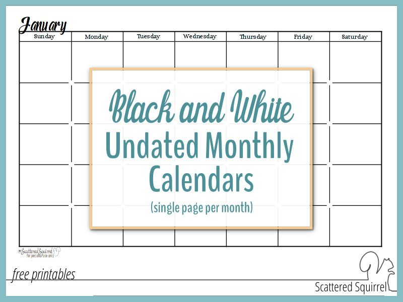 Black and White Undated Monthly Calendars are Great Additions to