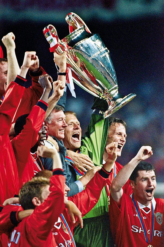 List of Best Manchester United Wallpapers Stadium The Champions League trophy is raised aloft by Manchester United manager Sir Alex Ferguson and goalkeeper Peter Schmeichel after their victory over Bayern Munich in the final at the Nou Camp Stadium, Barcelona, Spain on May 26th 1999 (Photo by Tom Jenkins/Getty Images). An image from the book 'In The Moment' published June 2012